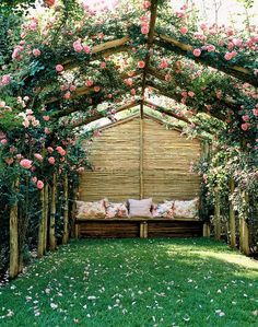 The wooden pergola is a good solution to add beauty to your garden. If you are not ready to spend thousands of dollars for building a cozy pergola then you may devise new strategies of trying out something different so that you can re Small Backyard Gardens, Backyard Garden Design, Backyard Pergola, Backyard Landscaping, Outdoor Gardens, Backyard Ideas, Garden Gazebo, Pergola Ideas, Landscaping Ideas