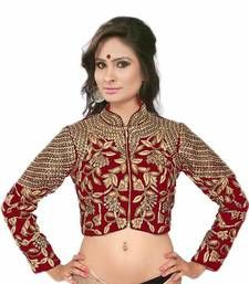 0ee539817ea1f Buy Red Velvet Golden Embroidery Readymade Full Sleeve Blouse bridal-blouse  online Blouse Designs High