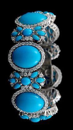 Turquoise, Diamond and 18K White Gold Bracelet