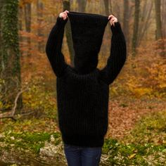 BLACK Hand Knit Mohair Sweater Extra long Turtleneck Pullover by SUPERTANYA M L | eBay