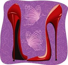 Illustration about Pair of high heels red shoes and flying butterflies on purple floral background - vector illustration. Illustration of female, heels, pump - 22546637 High Heels Outfit, High Heels Stilettos, Shoes Heels, Louboutin Shoes, Red Bottom Shoes, Red Shoes, Shoes Style, Clipart, Purple High Heels