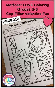 Math Art Valentine Coloring Sheet - Differentiated (Grades 3-5) | Valentine Math | Valentine Fun | Mrs. Renz' Class
