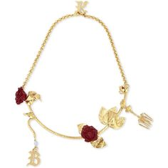 Christopher Kane Beauty and the Beast charm necklace ($385) ❤ liked on Polyvore featuring jewelry, necklaces, rose jewelry, chandelier jewelry, clasp necklace, clasp charms and long gold tone necklace