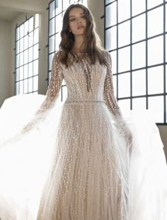"""Gorgeous Embroidered Ivory Overlace Sheath Wedding Dress / Bridal Gown with Long Sleeves, V-Back Cut and a Train. Collection """"Le Papillon"""" 2019 by Modeca Wedding Dresses Sydney, Classy Wedding Dress, Luxury Wedding Dress, Perfect Wedding Dress, Bridal Wedding Dresses, Designer Wedding Dresses, Bridal Style, Bridal Gown, Boho Wedding"""