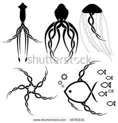 - World of Animals Sea Life Tattoos, Ocean Tattoos, Art Tattoos, Kawaii Tattoo, Tattoo Flash Art, Celtic Tattoos, Camping Gifts, Ocean Creatures, Celtic Designs