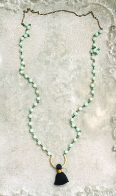Black Tassel Necklace Aqua Beads Long Necklace by HeatherBerry
