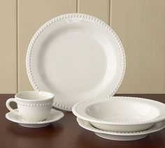 As a casual person, I extend this philosophy to kitchenware. Like to only have one set of dishes. This set can be put on the table anytime because they can be casua or fancy. For the number of times I would use fine china, to me, having it seems like a waste. Emma Dinnerware-White #potterybarn