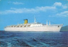 Vintage Postcard T/S Swedish Flavia Ship at Sea circa 1960s Costa Line. Tormen a Genova, printed in Italy. The postcard measures 4-1/4 x 5-3/4. by NookCove on Etsy, $1.29