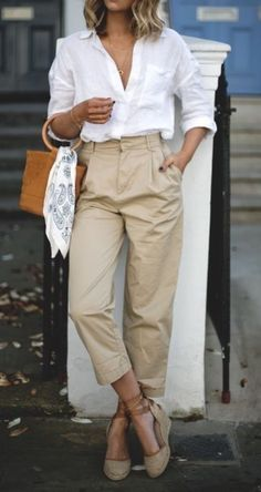 Wide chinos & classic button down Semi Formal Outfits For Women, Office Outfits Women, Summer Work Outfits, Business Casual Outfits, Professional Outfits, Business Clothes, Spring Outfits, Dressy Skirts, Weather Wear