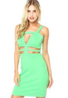 Vestido Lança Perfume Recortes Verde