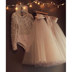 >> Click to Buy << Champagne Tulle Skirt Lace Long Sleeve Unique Flower Girl Dresses 2016 Newest Two Pieces Princess Girls Dresses For Weddings #Affiliate