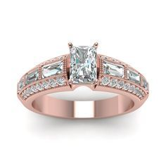 Radiant Cut Platinum Edwardian Vintage Engagement Rings with Diamonds in 14K Rose Gold exclusively styled by Fascinating Diamonds