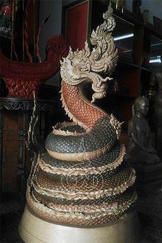 Culture Of Thailand, Thailand Art, Thai Design, Thailand Tattoo, Buddha Art, Thai Art, Asian Art, Wood Carving, Sculpture Art