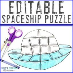 EDITABLE Spaceship | Great for an Outer Space Unit or Space Classroom Decor | 1st, 2nd, 3rd, 4th, 5th, 6th, 7th, 8th grade, Activities, English Language Arts, Fun Stuff, Games, Homeschool, Math, Science