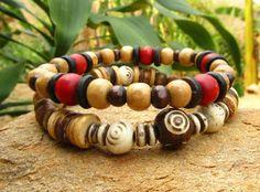 Mens Coconut Heishi Wood & Bone Beaded Mala Style by cainersbliss