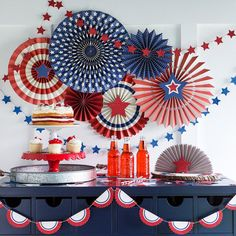 Red White and Blue Tissue Tassel Garland 4th of July Hanging