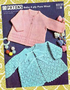 Babies Matinee Jacket and Cardigan, knitting pattern, matinee knitting pattern, baby cardigan pattern, baby knitting. pattern only. Cardigan Pattern, Baby Cardigan, Jacket Pattern, Knitting Wool, Vintage Knitting, Double Knitting, Baby Knitting Patterns, Baby Patterns, Crochet Patterns