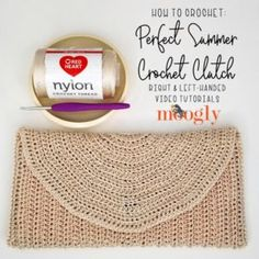 Jun 2019 - The Perfect Summer Crochet Clutch Tutorial demonstrates how to make this simple and classic bag pattern, in right and left-handed video tutorials! Free Crochet Square, Crochet Square Patterns, Bag Patterns To Sew, Sewing Patterns, Clutch Tutorial, Zipper Pouch Tutorial, Wallet Pattern, Tote Pattern, Left Handed Crochet