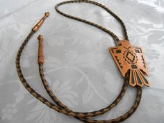 Vintage jewelry Copper eagle and leather rope bolo by denise5960, $42.50