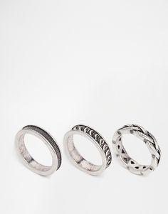 Imagen 1 de Juego de 3 anillos pulidos con diseño astral de ASOS