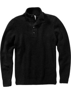 Men's Button-Up Mock-Neck Sweaters