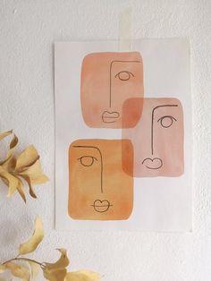 modern art Bild mit Tape an Wand befestigten. Modern Prints, Art Prints, Painting Prints, Abstract Face Art, Abstract Watercolor, Modern Abstract Art, Watercolour, Watercolor Art Lessons, Modern Wall Art