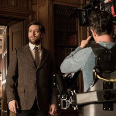 The lovely Roger Wakefield makes his on-camera debut. #BehindTheScenes #Outlander