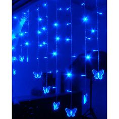 100-Light Blue Butterfly Acrylic LED String Light ($36) ❤ liked on Polyvore featuring home, lighting, butterfly string lights, blue light, butterfly lamp, energy efficient lighting and light blue lamp
