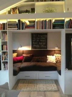 81 Cozy Home Library Interior Ideas Modern houses are not only about living rooms, the kitchen, bedrooms, the dining space or the toilets. The most recent and hottest trends is the advent of incredible home libraries. Cozy Home Library, Cosy Home, Library Wall, Living Room Green, Cozy Living Rooms, Furniture For Small Spaces, Living Room Furniture, Diy Furniture, Green Furniture