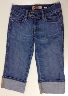 Old Navy Crop Jeans 1 Womens Low Rise Stretch Capri Cuffed Pants Denim Blue