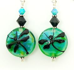 Teal Blue Glass Dragonfly Lampwork Earrings, $44.00 from BeadzandMore on Etsy