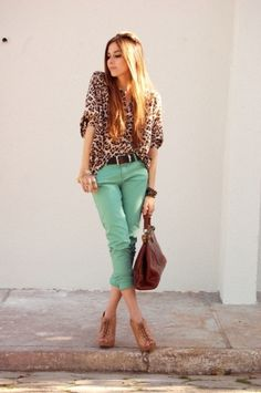 I Love this Combo of Mint Green & Leopard...
