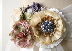 Floral Wedding Gown Sash Dress Pin in Soft Yellow, Rose, Blush and Violet Purples
