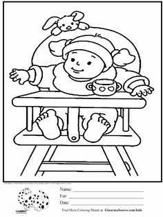Baby High Chair Coloring Pages For Girls Is A Cute Little Wearing Star Wars Yoda Hat Sitting In An Old Fashioned Wooden
