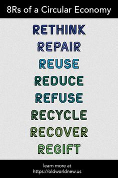A Circular Economy encourages the use of more renewable and reusable items These Rethink repair reuse reduce refuse recycle recover regift These are ways you can lea. Plastik Recycling, Circular Economy, Reduce Reuse Recycle, Green Life, Sustainable Living, Sustainable Design, Sustainable Fashion, Zero Waste, Planners