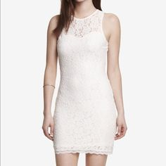 Express lace open back dress Off white open back lace dress with built in slip. Worn once. Dresses Mini