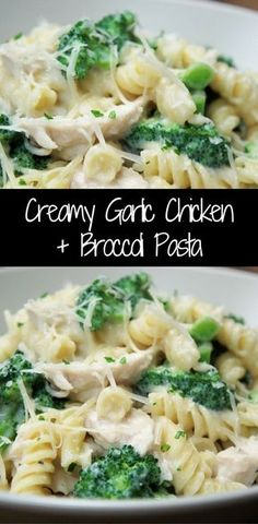 This Creamy Garlic Chicken + Broccoli Pasta is an easy, affordable and delicious dinner your family will love. Poached chicken is combined with broccoli and rotini pasta in a creamy garlic and parmesan sauce that is not too heavy because it is made with milk instead of cream. This is a great meal to make on busy weeknights, and since it makes a nice big skillet of creamy goodness, you might even have a little leftover for lunch.