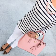 StylishPetite.com | striped shirt // denim jeans // leopard flats  // necklace // pink purse // gold watch // Shellac manicure