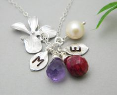 Mother Daughter Necklace Birthstones Necklace by DanglingJewelry, $50.00