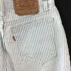 Vintage Levi's High Waisted Sz 12 Tapered Leg Mom Jeans Denim Railroad Stripe #Levis #StraightLeg