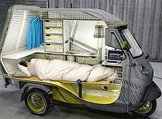 Bufalino Mobile Home -- Small one person camper designed by Cornelius Comanns from Germany. Bufalino vehicle is based on the Piaggio APE 50 tricycle. It comes with folding bed, small kitchen, desk, and plenty of storage compartments. Auto Camping, Petit Camping Car, Truck Camping, Truck Tent, Tiny Camper, Small Campers, Camper Van, Camper Caravan, Micro Campers