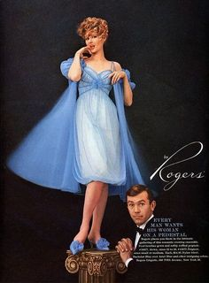1960s Rogers Blue Nightgown and Robe