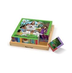 16 cubes rotate and reposition to piece together 6 New Testament scenes 6 Bible scenes include: Jesus with the Children, the Nativity, J...
