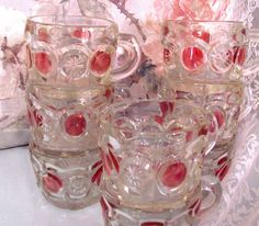 VINTAGE SET PUNCH GLASSES PRESSED CRANBBERRY clear coin dot CHRISTMAS Rose Cottage, Punch, Coins, Shabby, Pottery, Glasses, Store, Christmas, Ebay