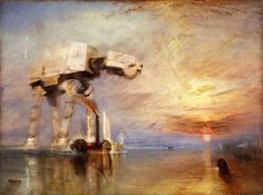 """AT-AT painted in the style of J.M.W. Turner's """"The Fighting Temeraire tugged to her last Berth to be broken"""""""