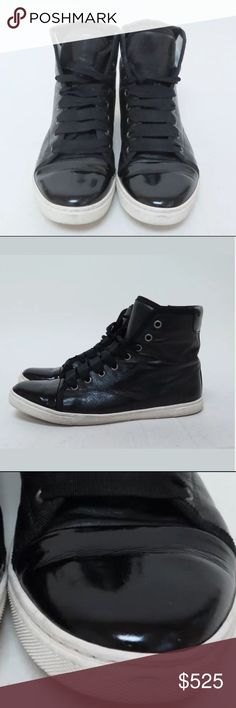 LAVIN Black Leather Patent Toe High Top Sneakers Like New, barely worn condition! Lavin Shoes Sneakers