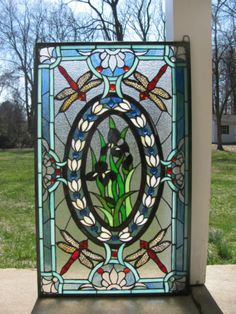 """20 5"""" x 34""""Tiffany Style Stained Glass Window Panel Dragonfly Iris Sold as Is 