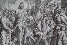 Jesu Einzug in Jerusalem: Holzschnitt von Julius Schnorr von Carolsfeld (1794-1872), abgedruckt in der Lutherbibel 1986. Grafik: Sammlung Friedemann Hägele