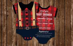 10 Lumberjack Baby Shower Invitations Plaid by LittleBeesGraphics