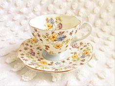 Vintage Chintz Flower Teacup Saucer Foley EB & Co. China 1930s